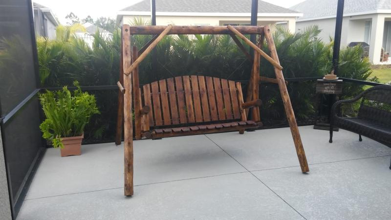 Most Current 3 Person Natural Cedar Wood Outdoor Swings Within Lakeland Mills Country Garden Porch Swing With Stand (View 15 of 20)