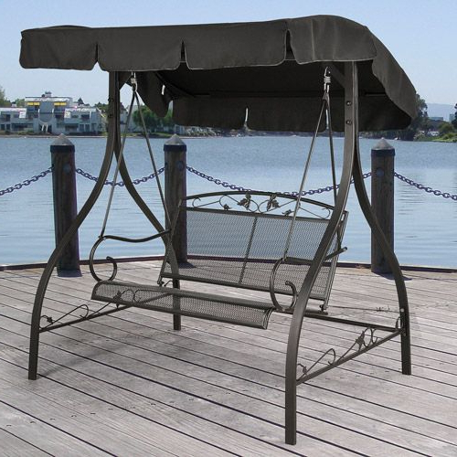 Most Current Jefferson Wrought Iron Outdoor Swing, Seats 2: Patio Intended For 2 Person Black Wood Outdoor Swings (Gallery 9 of 20)