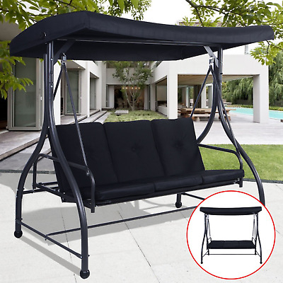 Most Current Mainstays Wentworth 3 Person Cushioned Canopy Porch Swing Within 3 Person Brown Steel Outdoor Swings (View 16 of 20)