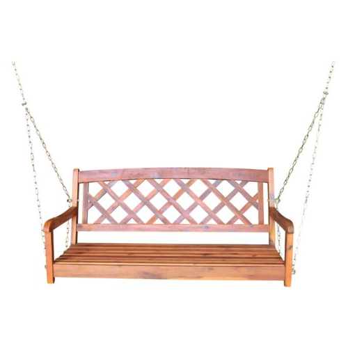 Most Current Porch Swings With Chain Regarding International Concepts X Back Porch Swing With Chain, Brown (View 16 of 20)