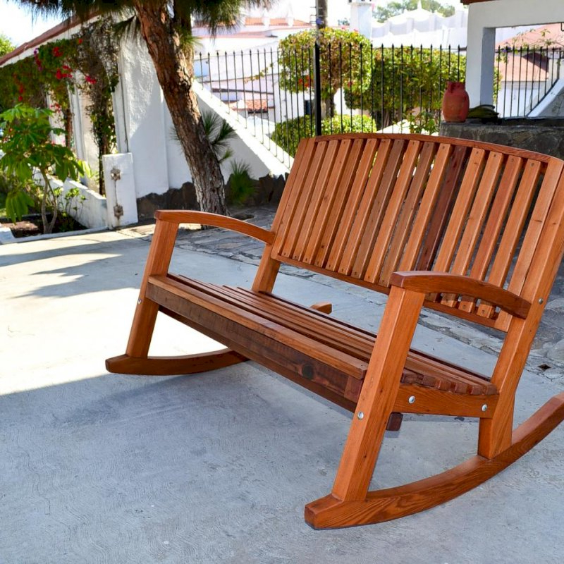 Most Current Rocking Benches With Cushions Regarding Luna Wood Rocking Bench (Gallery 14 of 20)