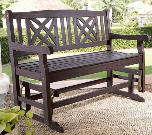 Most Current Rocking Glider Benches Regarding Outdoor Wood Glider Bench Rocking Chair Loveseat Porch Lawn (Gallery 10 of 20)