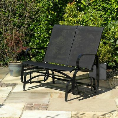 Most Popular 2 Person Antique Black Iron Outdoor Gliders Throughout Garden Patio 2 Person Glider Chair Bench Black Outdoor (View 15 of 20)