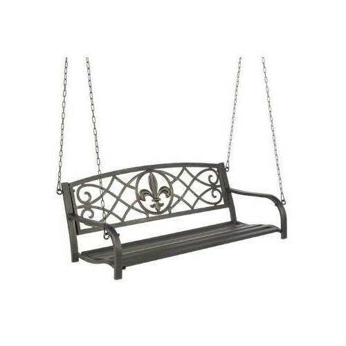 Most Popular 2 Person Black Steel Outdoor Swings For Metal Porch Swing Outdoor Patio Hanging Furniture 2 Person (View 10 of 20)