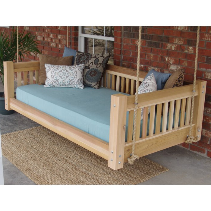 Most Popular Hanging Daybed Rope Porch Swings With Regard To Longbridge Cedar Hanging Daybed Rope Porch Swing (View 15 of 20)