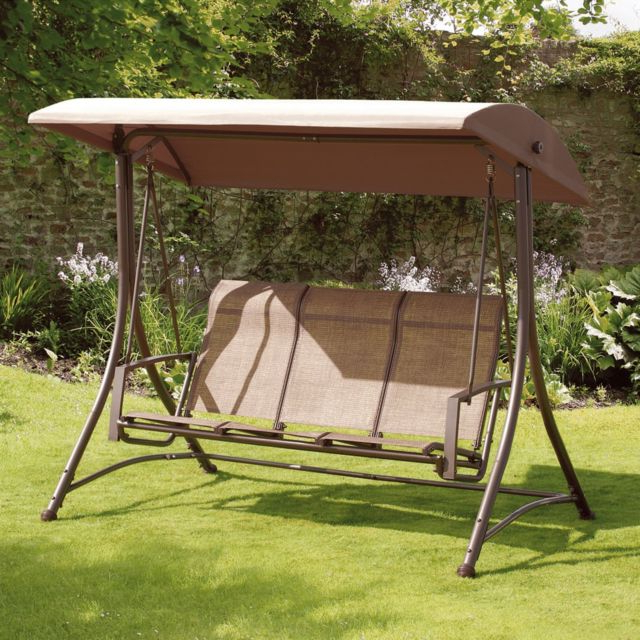Most Popular Home & Garden Patio Chairs, Swings & Benches Brown 3 Person Throughout 3 Person Brown Steel Outdoor Swings (View 11 of 20)