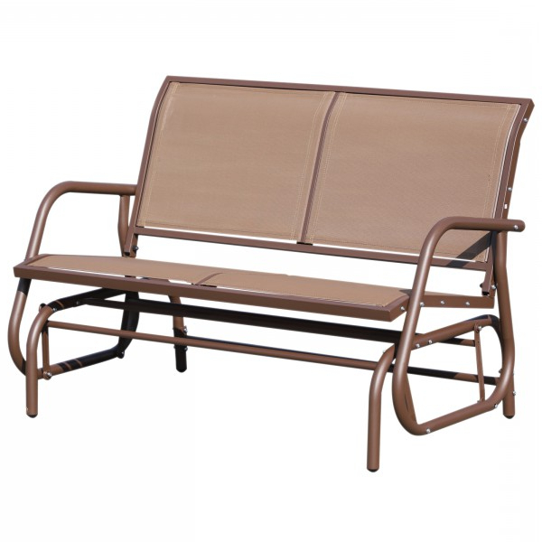 Most Popular Outsunny Outdoor Steel Sling Fabric Glider Patio Loveseat Pertaining To Outdoor Fabric Glider Benches (View 3 of 20)