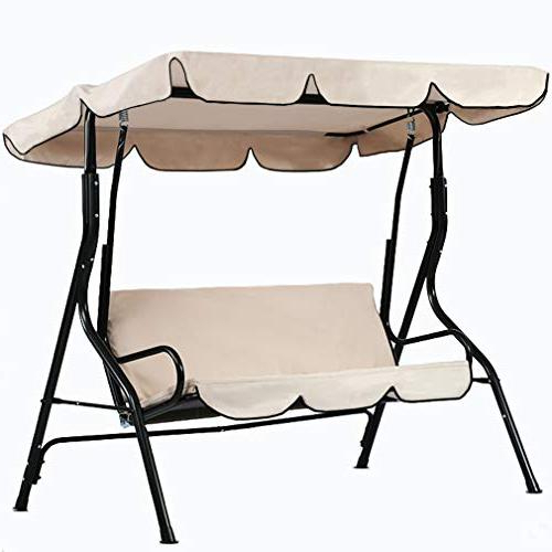Most Popular Patio Swing 3 Person Canopy Glider Hammock Chair With Patio Glider Hammock Porch Swings (View 6 of 20)