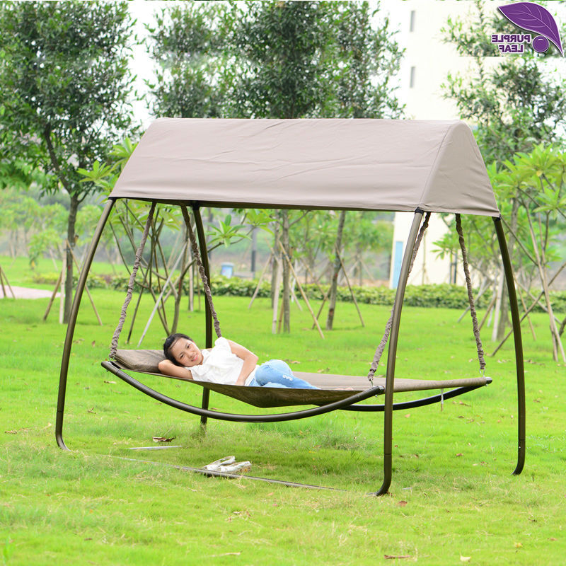 Most Popular Purpleleaf Patio Leisure Garden Swing Chair Outdoor Sleeping Inside Garden Leisure Outdoor Hammock Patio Canopy Rocking Chairs (Gallery 2 of 20)