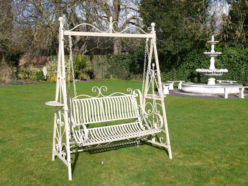 Most Recent 1 Person Antique Black Iron Outdoor Swings Throughout Wrought Iron French Cream Antique Style Garden Bench Swing (View 2 of 20)