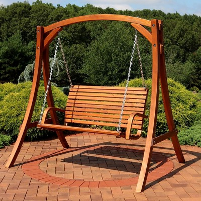 Most Recent 2 Person Natural Cedar Wood Outdoor Swings With Deluxe 2 Person Wooden Patio Swing – Sunnydaze Decor, Brown (View 14 of 20)