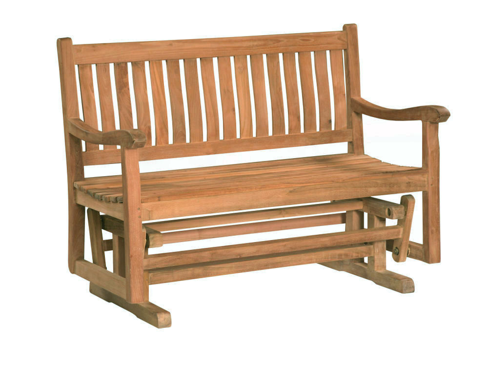 Most Recent Classic Adirondack Glider Benches With Regard To Classic 4' Glider Bench – Douglas Nance Teak Wholesale (View 6 of 20)