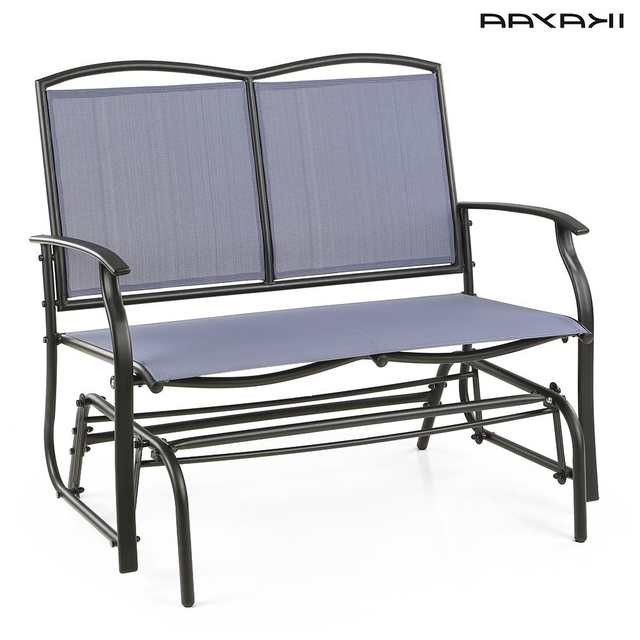 Most Recent Ikayaa 2 Person Patio Swing Glider Bench Chair Loveseat For Steel Patio Swing Glider Benches (View 11 of 20)