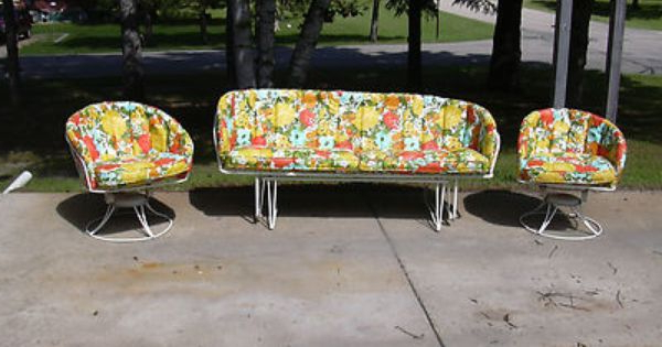 Most Recent Mid Century Vintage Homecrest Patio Lawn Furniture Chairs Within Glider Benches With Cushions (View 18 of 20)