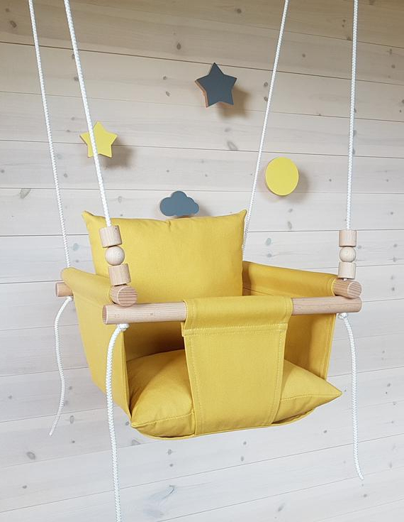 Most Recent Mustard Baby Swing/toddler Swing/ Natural Swing/ Cotton Swing/ Indoor  Swing/first Birthday Gift/swing Within Cotton Porch Swings (Gallery 12 of 20)