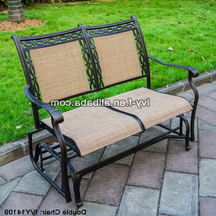 Most Recent Outdoor Fabric Glider Benches Within 2 Seater Cast Aluminum Rocking Chair Loveseat Glider Bench (View 9 of 20)