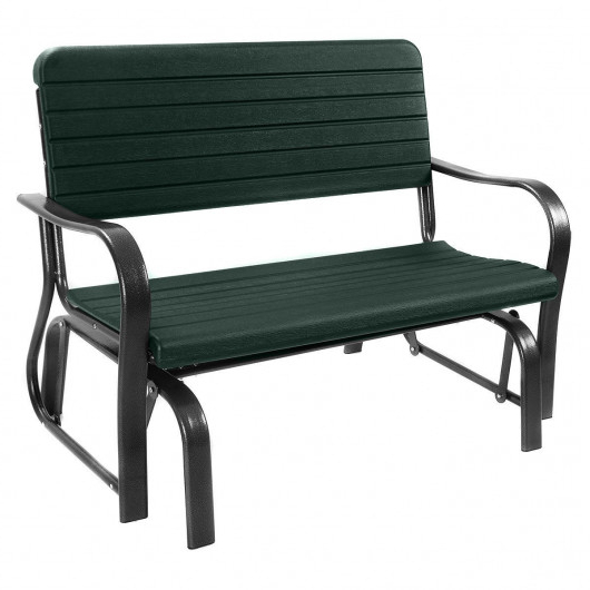 Most Recent Outdoor Patio Steel Swing Bench Loveseat With Regard To 1 Person Antique Black Steel Outdoor Gliders (View 15 of 20)