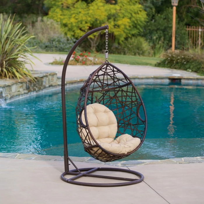 Most Recent Outdoor Wicker Plastic Tear Porch Swings With Stand Intended For Stamford Wicker Tear Drop Hanging Basket Chair With Stand (Gallery 9 of 20)