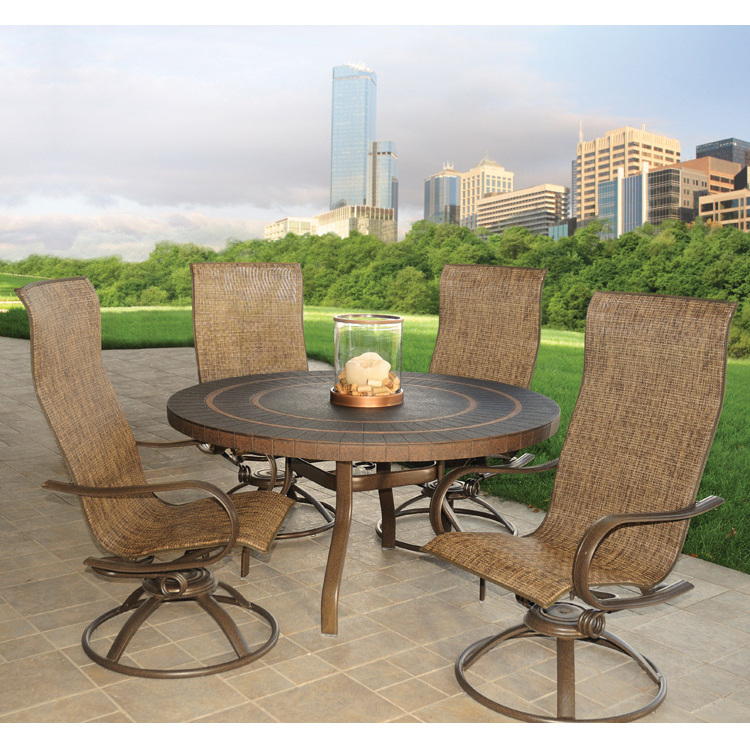 Most Recent Padded Sling High Back Swivel Chairs Within Homecrest Holly Hill Sling High Back Swivel Rocker Patio (View 20 of 20)