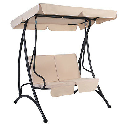 Most Recently Released 2 Person Outdoor Convertible Canopy Swing Gliders With Removable Cushions Beige For Beige 2 Person Canopy Swing Chair Patio Hammock Seat (View 12 of 20)