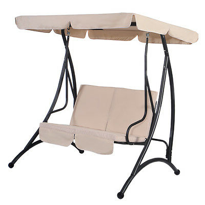Most Recently Released 2 Person Outdoor Convertible Canopy Swing Gliders With Removable Cushions Beige In Beige 2 Person Canopy Swing Chair Patio Hammock Seat (Gallery 7 of 20)