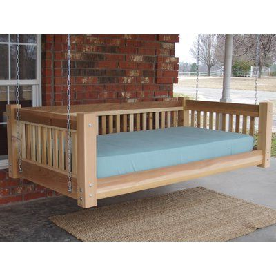 Most Recently Released Country Style Hanging Daybed Swings Regarding Millwood Pines Longbridge Cedar Hanging Daybed Rope Porch (View 15 of 20)