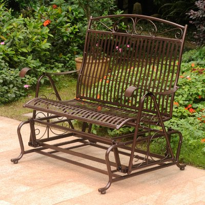 Most Recently Released Fleur De Lis Living Nocona Iron Double Patio Glider Bench Intended For Iron Double Patio Glider Benches (View 6 of 20)