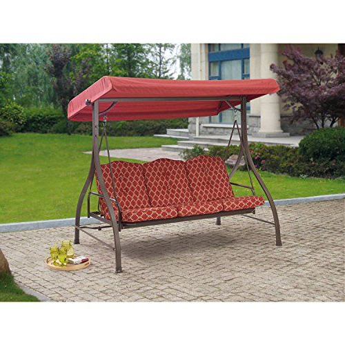 Most Recently Released Outdoor 3 Triple Seater Hammock Swing Glider Canopy Patio Pertaining To Patio Glider Hammock Porch Swings (View 3 of 20)