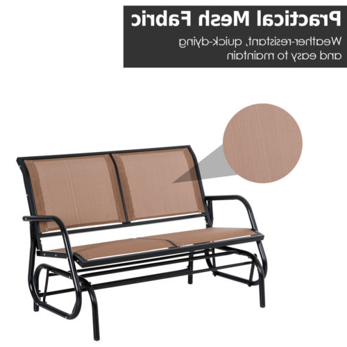 Most Recently Released Outdoor Fabric Glider Benches Throughout Outdoor Patio Glider Double Swing Chair Garden 2 Person (View 19 of 20)