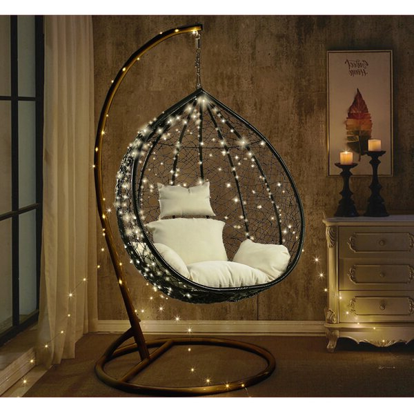 Most Recently Released Outdoor Wicker Plastic Half Moon Leaf Shape Porch Swings With Regard To Outdoor Wicker Swing (View 7 of 20)
