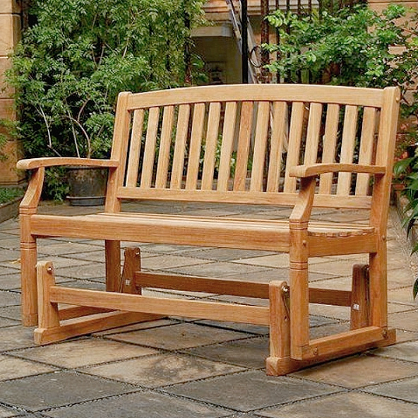 Most Recently Released Teak Glider Benches For Teak 4 Foot Arched Patio Glider Bench (Gallery 4 of 20)