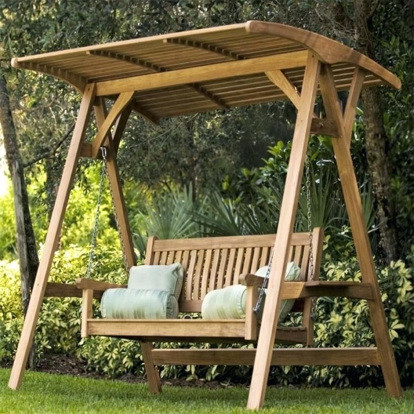 Most Recently Released Wooden Patio Swing Suitable For Three People (View 17 of 20)