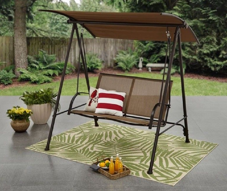 Most Up To Date 2 Person Outdoor Convertible Canopy Swing Gliders With Removable Cushions Beige With Regard To Details About Outdoor 2 Person Patio Swing Chair Steel (Gallery 11 of 20)