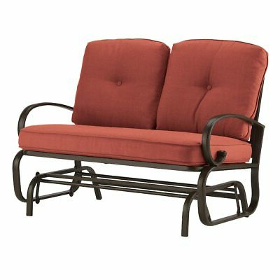 Most Up To Date 2 Person Red Cushion Patio Loveseat Glider Bench Outdoor Inside Cushioned Glider Benches With Cushions (View 14 of 20)