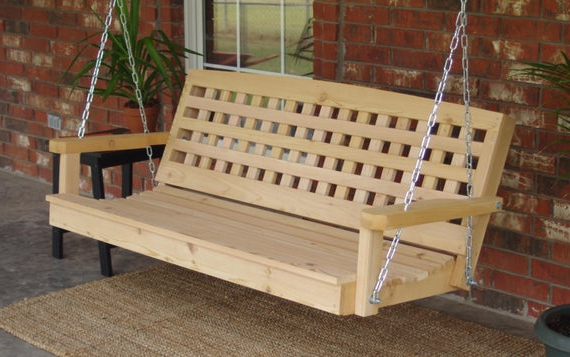 Most Up To Date 5 Ft Cedar Swings With Springs For Brand New 4 Foot Cedar Wood Lattice Style Porch Swing With Hanging Chain – Free Shipping (View 6 of 20)