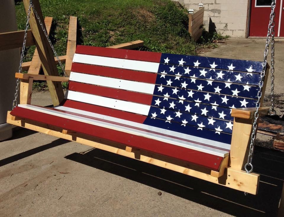 Most Up To Date Flag & Custom Swings – Davis Porch Swings Inside American Flag Porch Swings (View 9 of 20)