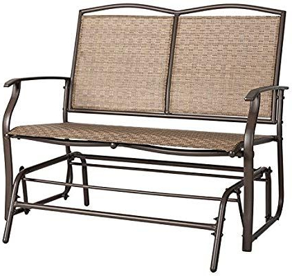 Most Up To Date Marble Field Patio Swing Glider Bench For 2 Person, Garden For Outdoor Patio Swing Glider Bench Chair S (Gallery 3 of 20)