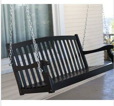 Most Up To Date Outdoor 4 Ft Wood Porch Swing Black Seat 2 Person Bench Slat With Regard To 2 Person Black Wood Outdoor Swings (View 13 of 20)