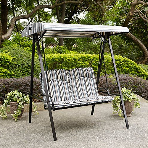 Most Up To Date Swing Porch Swing Yard Swing 2 Person Canopy 4 Legged Black Intended For 2 Person Black Steel Outdoor Swings (View 11 of 20)