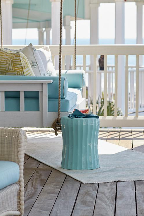 Nautical Porch Swings For Trendy White Porch Swing With Caribbean Blue Cushions – Cottage – Porch (Gallery 18 of 20)