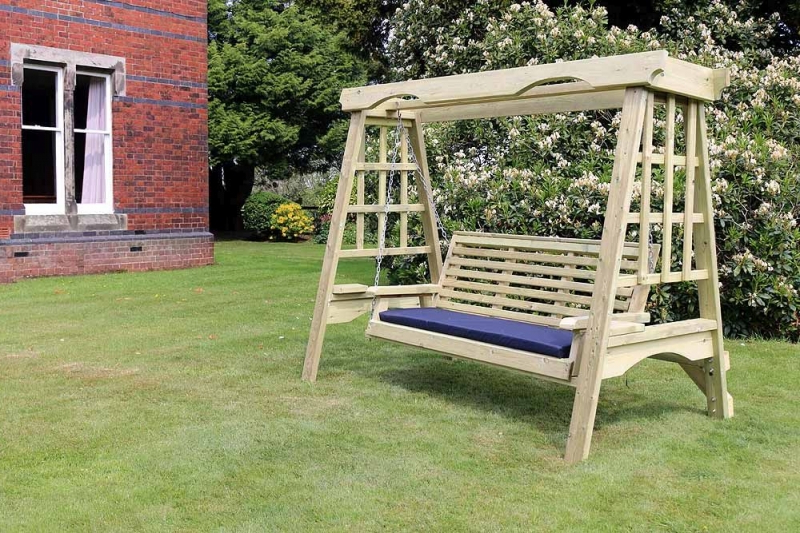 Newest 3 Seat Pergola Swings With Churnet Valley Cottage Wooden 3 Seater Garden Swing (View 15 of 20)