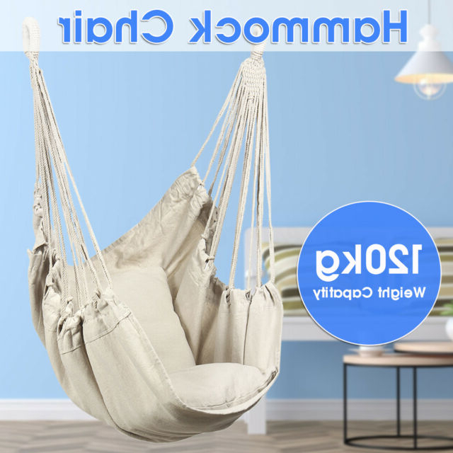Newest Canvas Swing Chair Hammock Hanging Seat Rope Porch Patio Garden Indoor Outdoor With Regard To Lamp Outdoor Porch Swings (Gallery 17 of 20)
