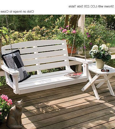 Newest Casual Thames White Wood Porch Swings Inside Little Cottage Company Classic 4Ft Poly Lumber Porch Swing (Gallery 8 of 20)