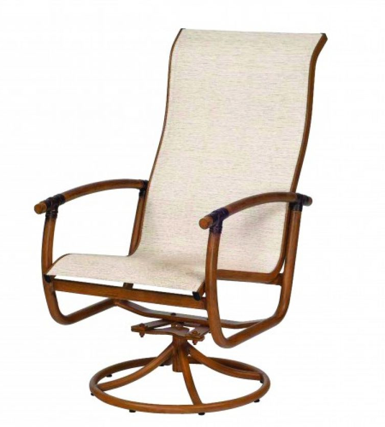 Newest Glade Isle Sling High Back Swivel Rocker Dining Arm Chair In Sling High Back Swivel Chairs (View 8 of 20)