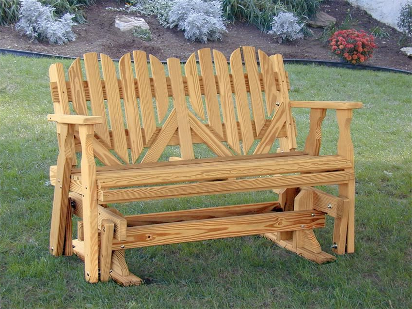Newest Hardwood Porch Glider Benches Throughout Amish Outdoor Pine Wood Heart Porch Glider Bench Made In The (View 3 of 20)