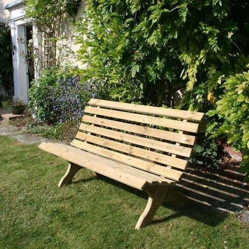 Newest Lilly 3 Seat Outdoor Wooden Garden Bench (View 9 of 20)