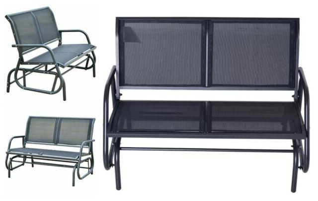 Newest Outdoor Patio Swing Porch Rocker Glider Benches Loveseat Garden Seat Steel With Regard To Patio Glider Bench Outdoor Porch Lounge Chair Garden Rocking Swing Loveseat (Gallery 20 of 20)