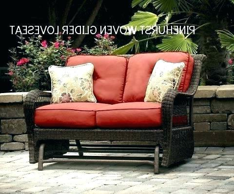 Newest Patio Glider Cushions – Sigpot Within Outdoor Loveseat Gliders With Cushion (View 14 of 20)