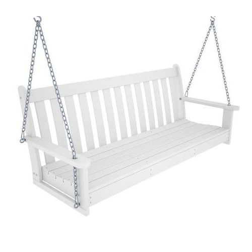Newest Polywood Outdoors Vineyard Polywood Porch Swing Bench – From With Regard To Vineyard 2 Person Black Recycled Plastic Outdoor Swings (View 8 of 20)