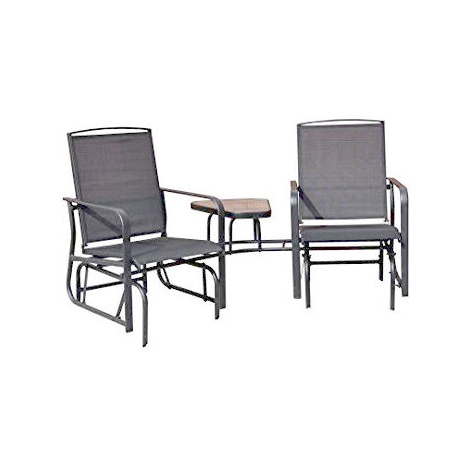 Newest Rocking Love Seats Glider Swing Benches With Sturdy Frame With Grey Gliding Love Seat –  (View 10 of 20)